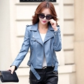 Womens Leather Jackets And Coats Jaqueta De Couro FemininaTurn-Down Collar Solid Pu Brand Com New Arrival Jaqueta Couro
