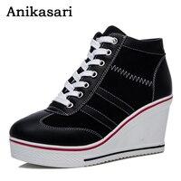 Canvas Shoes Woman Plus Size 35 42 Height Increasing Platform Casual Women Shoes Hidden Heel High
