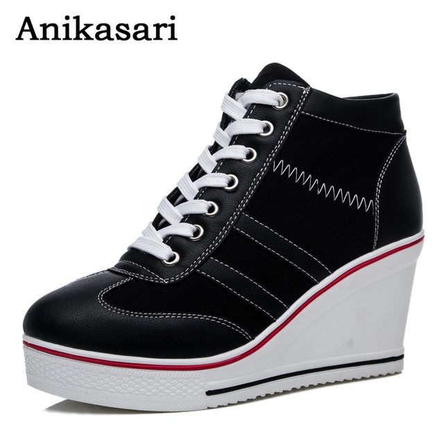 Womens girl High Platform Wedge Canvas Athleti Sneakers Height Increasing Shoes