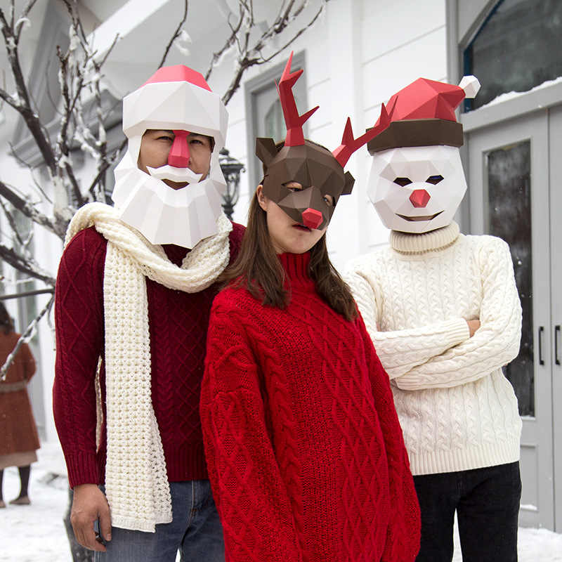 Animal Mask Elk Snowmen Santa Claus Cosplay Costume Adult Cardboard Breathable Christmas Decortion Party Tricky Funny DIY Mask