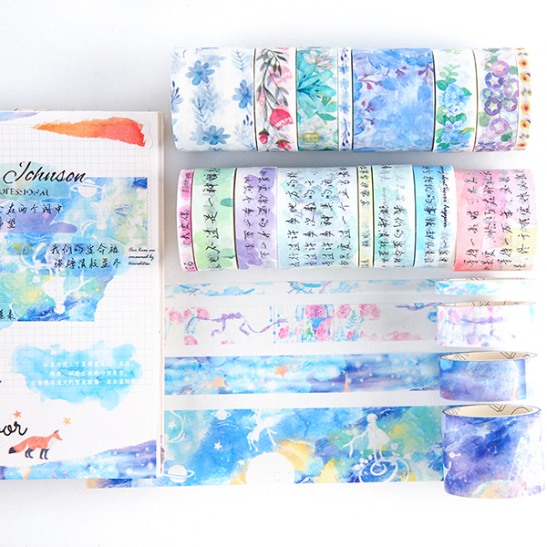 8 Pcs/pack Star Flower Ocean Vintage Washi Masking Tape Set Paper Stickers Scrapbooking Japanese Stationery Decorative Tape