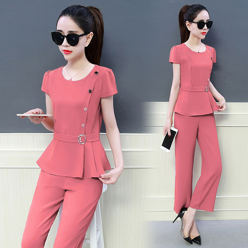 Korean Fashion new design ladies clothes summer two-piece short sleeve blouse top & wide-legged pants outfit vestido OL button