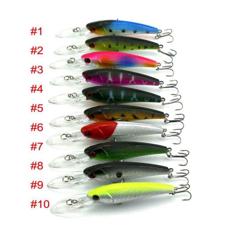100PCS 8G 9CM Minnow 10 colors Fishing Lure Long Tongue colorful Crankbait Wobbler retail ABS plastic Fishing tackle deep Depth