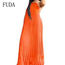 FUDA Bohemian Retro Maxi Pleated Dress Sexy Open Back Sleeveless Halter Chiffon Dress Summer Casual Nightclub Vestidos De Festa bohemian halter abstract print open back maxi dress for women