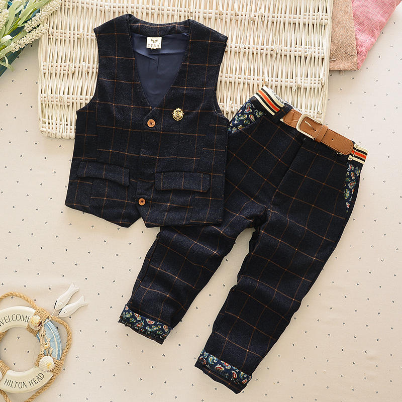 Brand 2016 Kids Formal Wedding Clothes Suit Baby Boy Blazer Set Boys Tuxedo Suits Jacket + Pants Children Clothing For Weddings boys wedding clothes kids tuxedo suit for baby boy blazer plaid vest shirt pants toddler formal party set children clothing b038