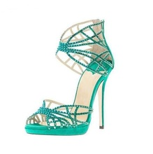 цена Sexy Green Crystal Embellished Strappy Sandals Beige Suede Cut-out Cage Shoes For Women Back Zipper High Heel Summer Dress Shoes онлайн в 2017 году