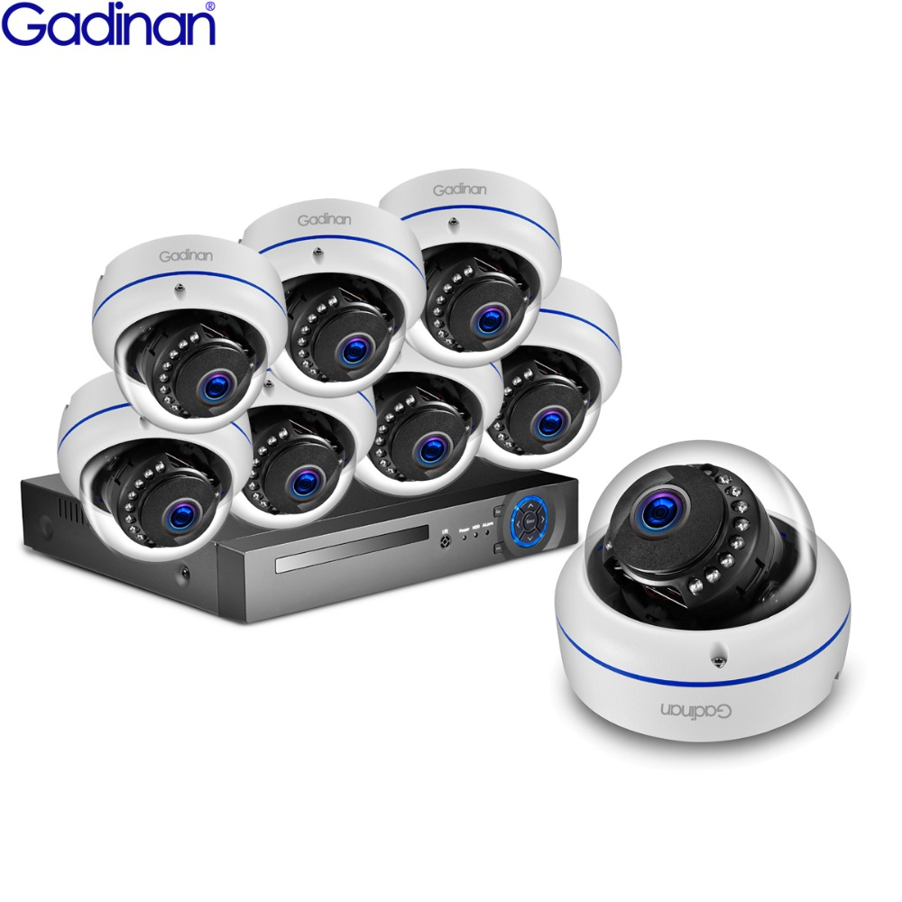 GADINAN 8CH 1080P HDMI POE NVR CCTV System 2MP SONY IMX323 Dome IP66 IP Camera P2P