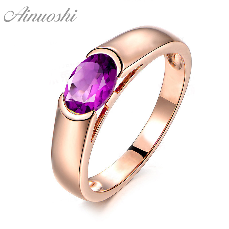 AINUOSHI Natural Amethyst Ring Pure 925 Sterling Silver Rose Gold Color Ring 1 25ct Oval Cut