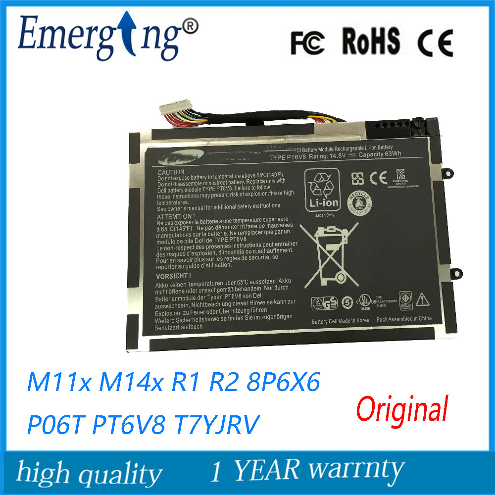 14.8V 63WH Original New   Laptop Battery for  Dell Alienware M11X M14X R1 R2 Battery 0w3vx3 08P6X6 PT6V8