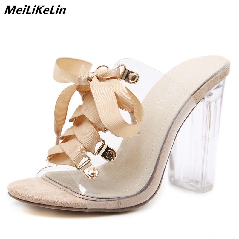 New 2018 Women Transparent Sandals Clear Crystal Heel Lace-up Mules Shoes Woman Block Thick High Heels Loose Gladiator Sandals new women gladiator sandals ladies pumps high heels shoes woman clear transparent t strap party wedding dress thick crystal heel