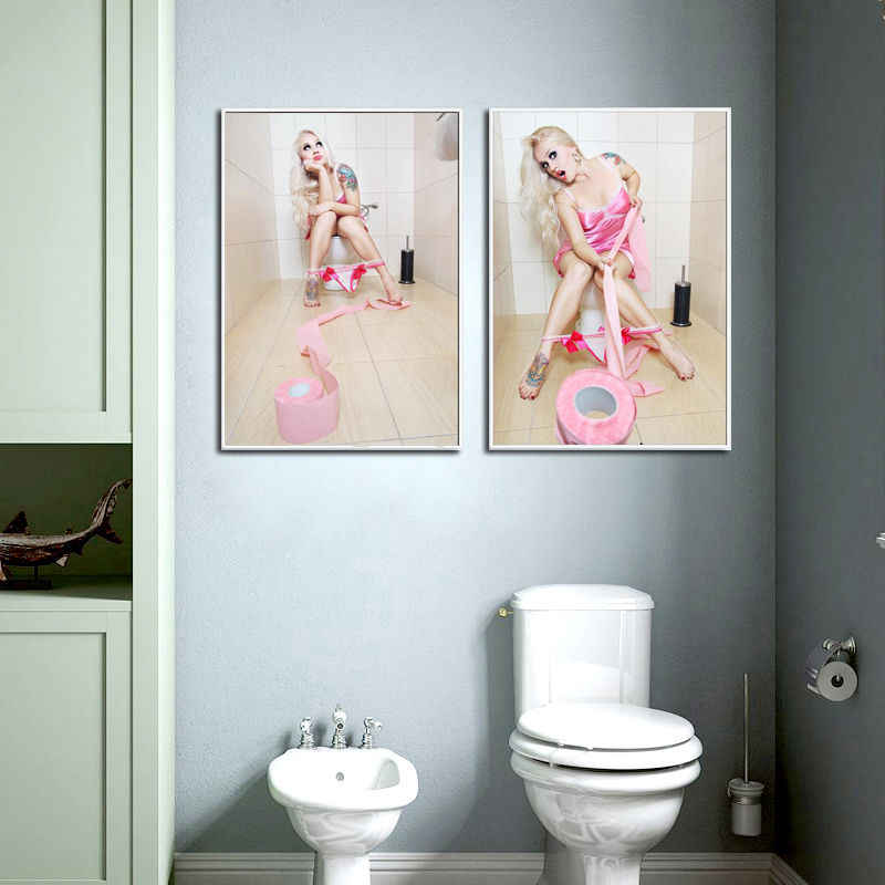 Colorful Bar Bathroom Decoration Canvas Painting Europe Toilets Hanging Sexy Pink Red Panties Women Wall Picture Model Poster