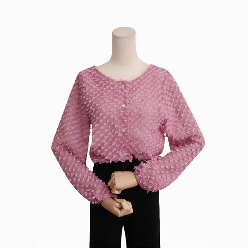 Sweet Diseño Camisetas Blusas Pk Ropa wh Larga Manga De breasted Color Mujeres 2018 Tops Nueva Single Sólido Corto Las Otoño Femenino pPqPFxT