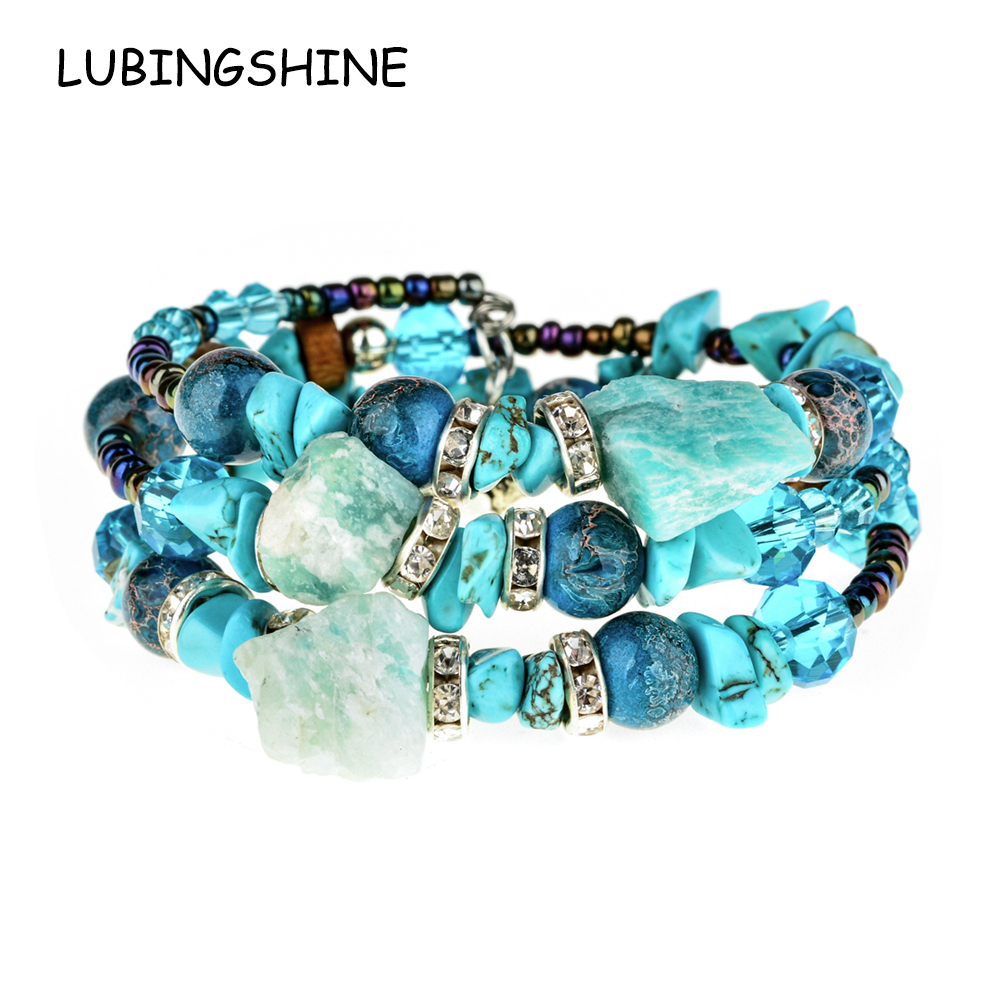 LUBINGSHINE Adjustable Bracelets Bangles Jewelry Beads Multilayer Resin-Stone Boho Vintage