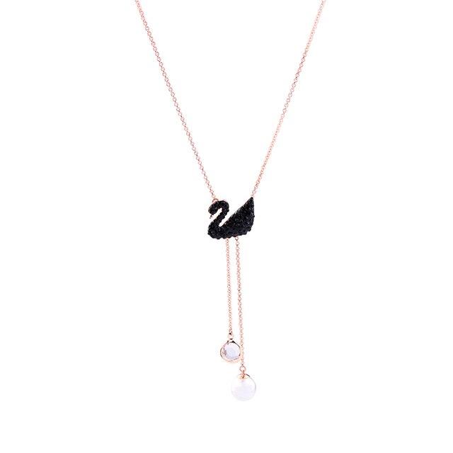 Elegant Rose Gold Color Chain Black Swan Necklace ali express