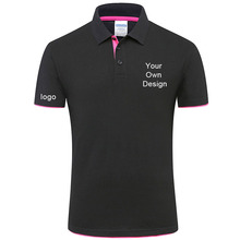 Customized housekeeping uniform Contrast color polo shirt men DIY personalized embroidery Polo Homme men contrast panel polo shirt