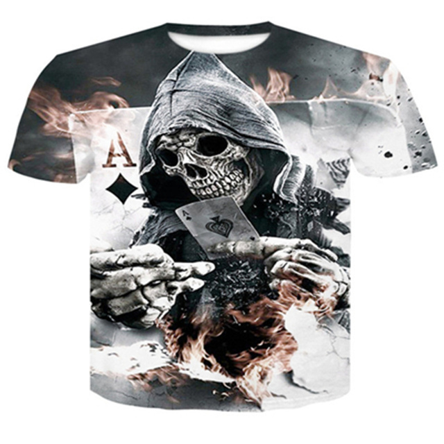 カジュアルメンズ tシャツスリムフィット 3D スカル Tシャツ男性 Tシャツ半袖トップスパニッシャーおかしい tシャツクイック乾燥フィットネスサイズ 4XL