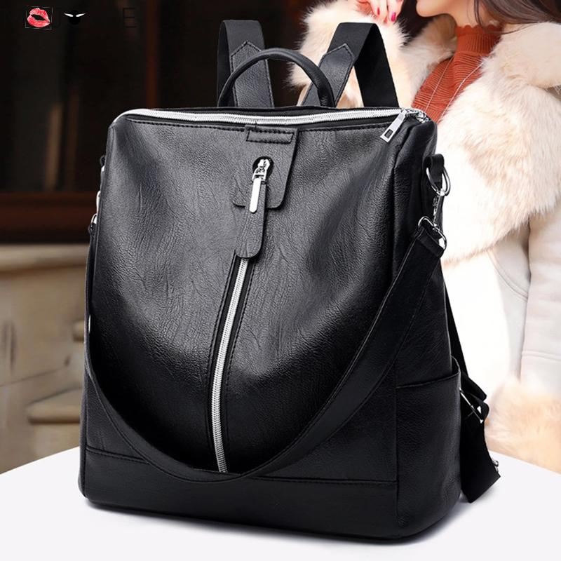 Leather Backpack Mochila Women Big Zipper Backpack Student Bag Backpack Female Large Casual Travel Bags Mochila Feminina Sac #1