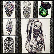 Design Sexy Girl With Mask Temporary Tattoo Sticker Men Black Body Art Arm Flash Waterproof Tattoo Henna Tatoo Arabic Women