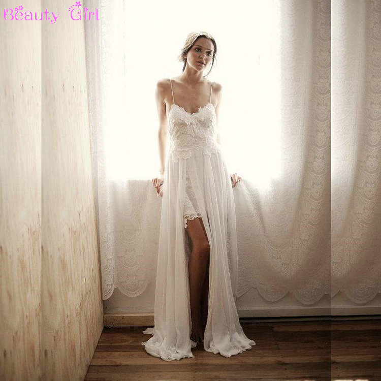 Lace Wedding Dresses Stunning Vintage White Beach Low Back Wedding ...