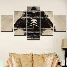 Холст HD печатные живопись для гостиной фотографии рамки современного искусства 5 Панель череп автомобиль фильм плакат Wall Art домашнего Декор Pengda