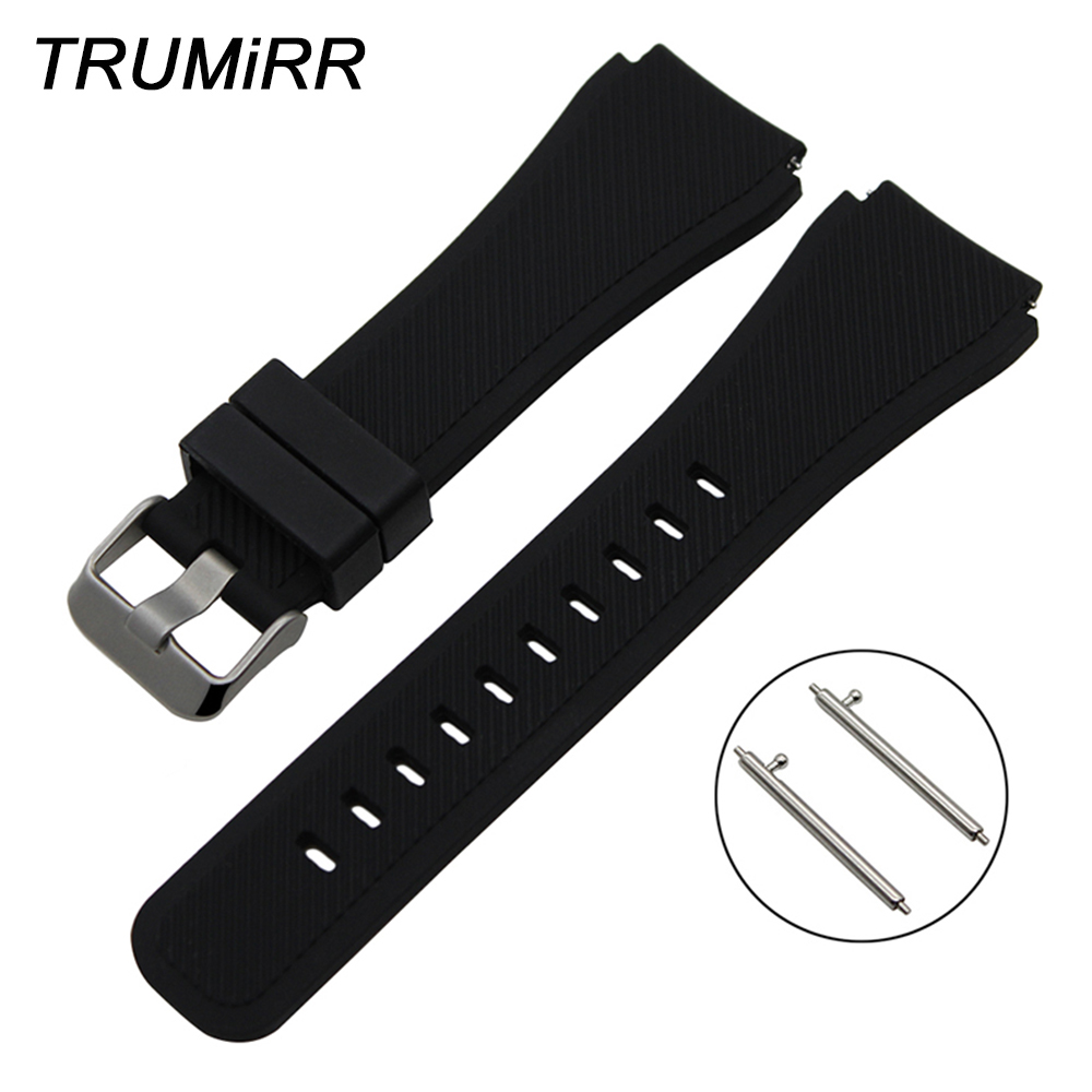 22mm Quick Release Silicone Rubber Watchband for Pebble Time / Steel Moto 360 2 46mm Men Watch Band Wrist Strap Bracelet Black new 22mm silver stainless steel gold watch band bracelet for moto 360 watchband