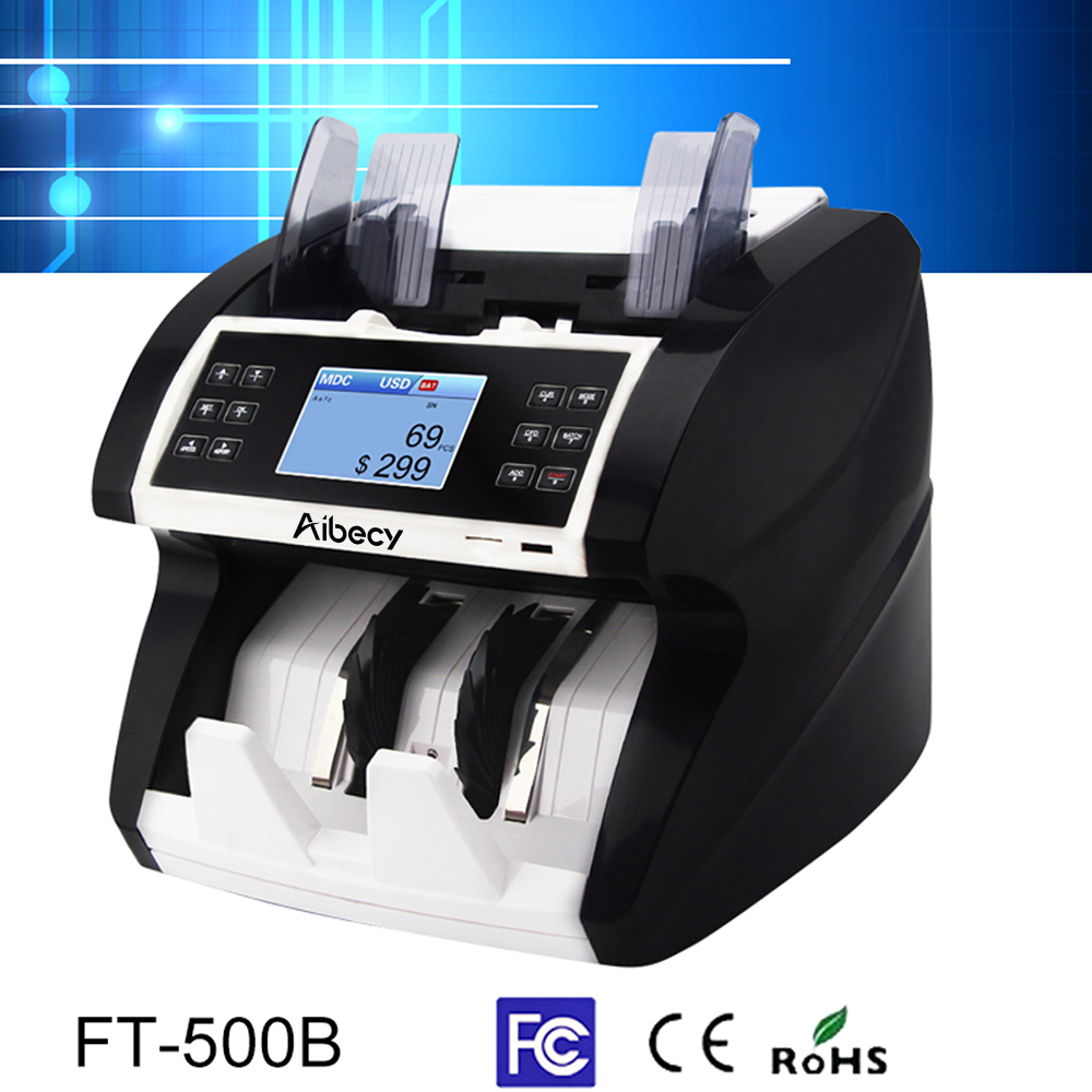 Aibecy Money Bill Counter Multi-Currency Cash Automatic Money Counter Counting Machine With UV MG MT IR Counterfeit Detector