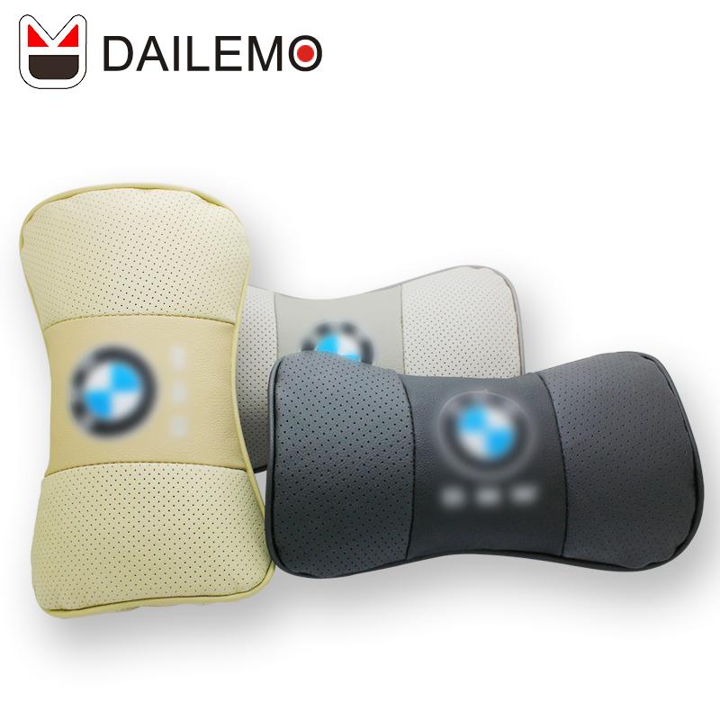 Dailemo Leather Car Headrest High Quality 2pcs Seat Neck