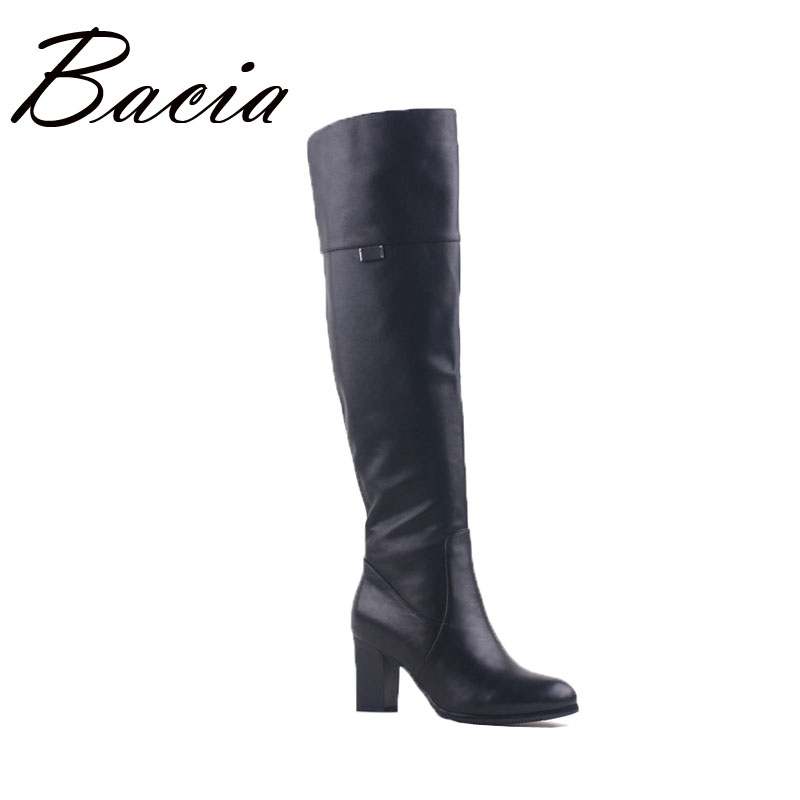 Bacia Brand Overknee High Boots Shoes Genuine Leather Women Wool Fur Plush Boot Winter Knee-high Luxury Russian Long Boots VD003 bacia russian original design boots knee high platform boot genuine leather quality shoes handmade footwear women botas vc001