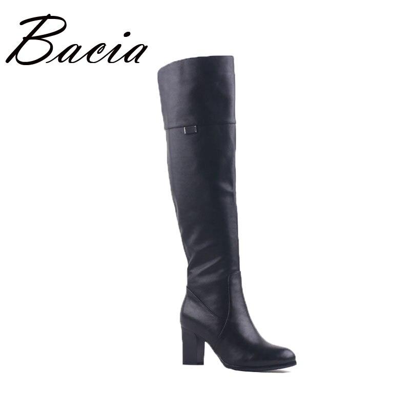 Bacia Square high heels Overknee Boots Genuine Leather Women's Wool Fur Plush Boot Winter Knee-high Luxury Russian Boots VD003 bacia winter boots for women full grain leather boots heels 5 8cm wool fur
