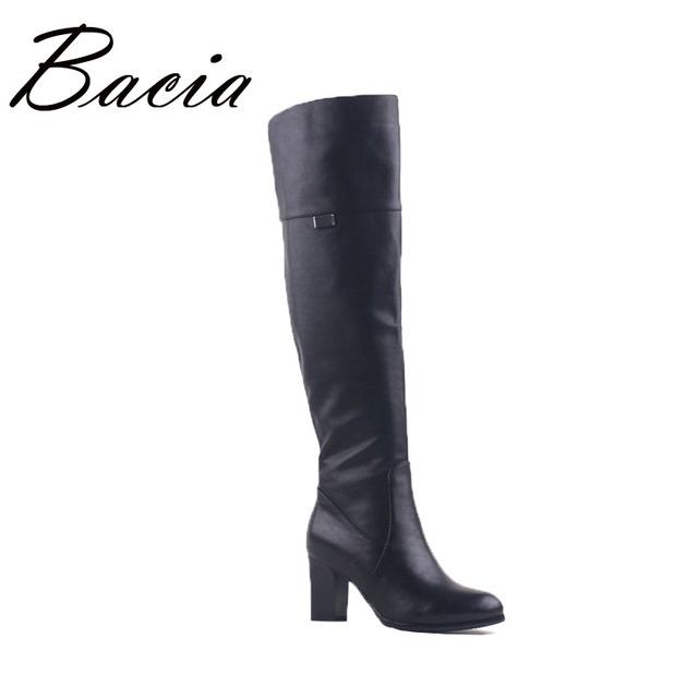 Bacia praça salto alto botas overknee genuínos das mulheres de couro de pele de lã de pelúcia inverno bota na altura do joelho-alta de luxo russion botas vd003