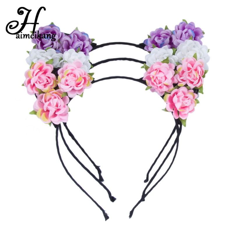 Haimeikang Cat Ears Headband Hair Hoop   Headwear   Cats Ear Flowers Hair Bands For Women Girls Headdress Kids Hair Accessories