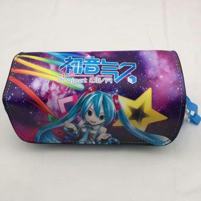 Hatsune Miku Pen Bag Multifunctional Double Zipper Leather Pencil Pouch Purse Stationery Cartoon Anime Girl Cosmetic Cases Bags