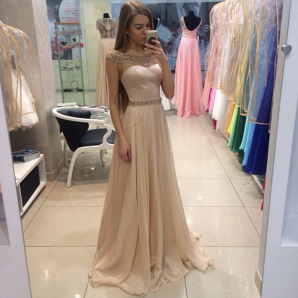 Cap Sleeve A Line Champagne Long Evening Dresses 2018 Scoop Chiffon Beading Sequined Sashes Sweep Train