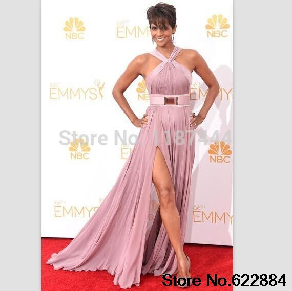 Halle Berry dusty pink chiffon prom gown on red carpet 2014 Emmy ...