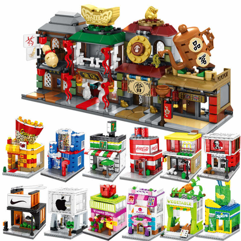 Sembo Block Mini City Street Building Blocks 3D Pizza Cloth Watch Jeans Drink Tea Glasses Shop DIY Toys for Children