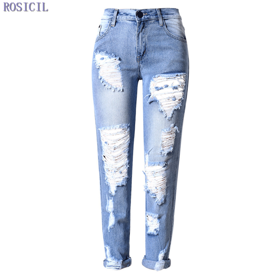 ROSICIL Jeans For Women New Fashion Summer Style Women Jeans Loose Holes Denim Harem Pants Ripped Jeans Woman TSL060# new summer vintage women ripped hole jeans high waist floral embroidery loose fashion ankle length women denim jeans harem pants