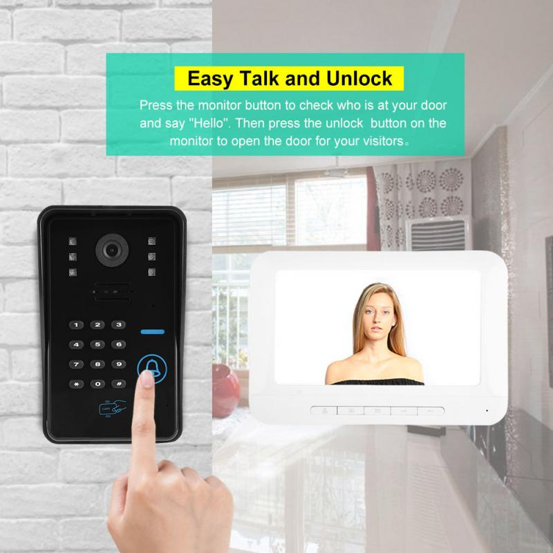 Video Door Phone Doorbell Wires Video Intercom Monitor 7 Wired Door Bell Home Security System 7 inch password id card video door phone home access control system wired video intercome door bell