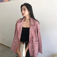 2018 New Black/Red Tassel Business Blazers Women Loose Solid Jackets Chic Double Breasted Office Lady One Piece Tweed Blazers