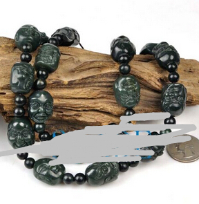 huij 001306 Hand Carved Nephrite Jade 18 Arhat Buddha Beads Necklace