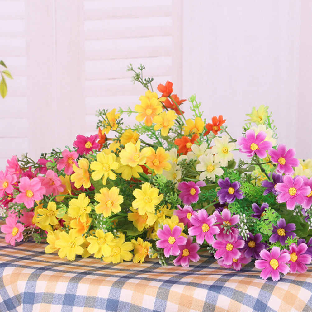 28 Heads Flower Plants Grass Without Pots Silk Artificial Flowers