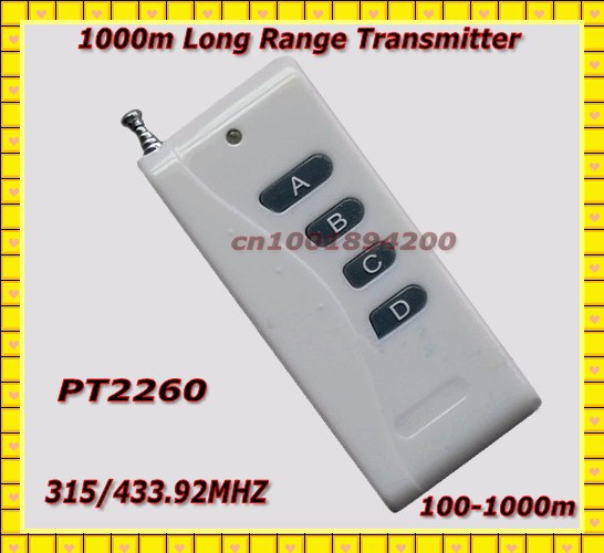 Long Range Transmitter RF Remote Control 1000m 4 Button High Power Remote 315/433.92MHZ PT2260 Fixed Code 4.7M 0 1 2 4ghz rf power meter frequency range 100 2400 mhz 65 0 dbm 1nw 1w