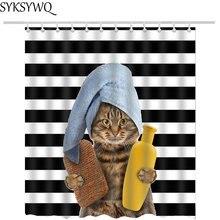 Nueva llegada Cortina de ducha de gato en el baño decoración gota envío gato de dibujos animados cortina de baño 3d