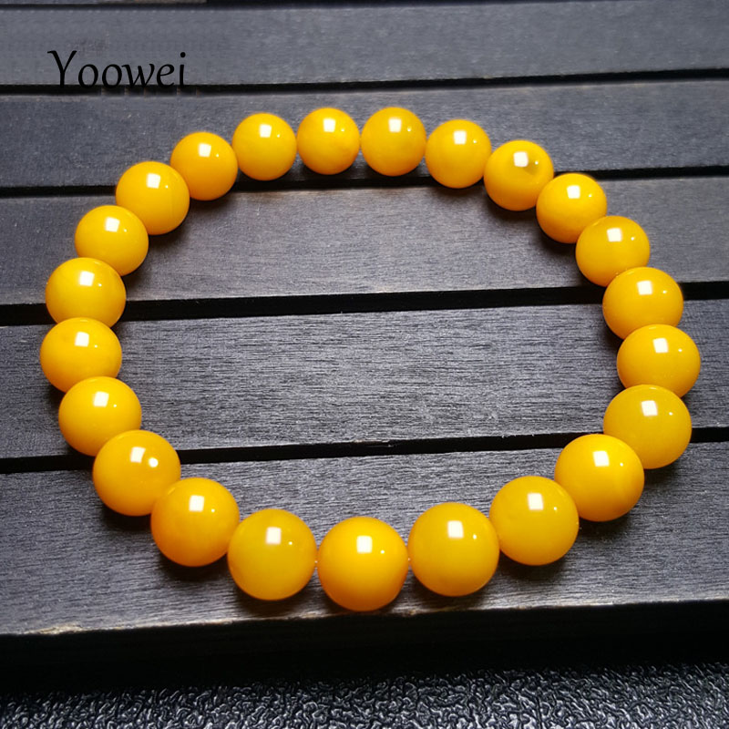 Yoowei 8mm Amber Bracelet Supplies Round Beads Natural Gems Female Luxury Original Baltic Precious Stone Amber Jewelry Wholesale