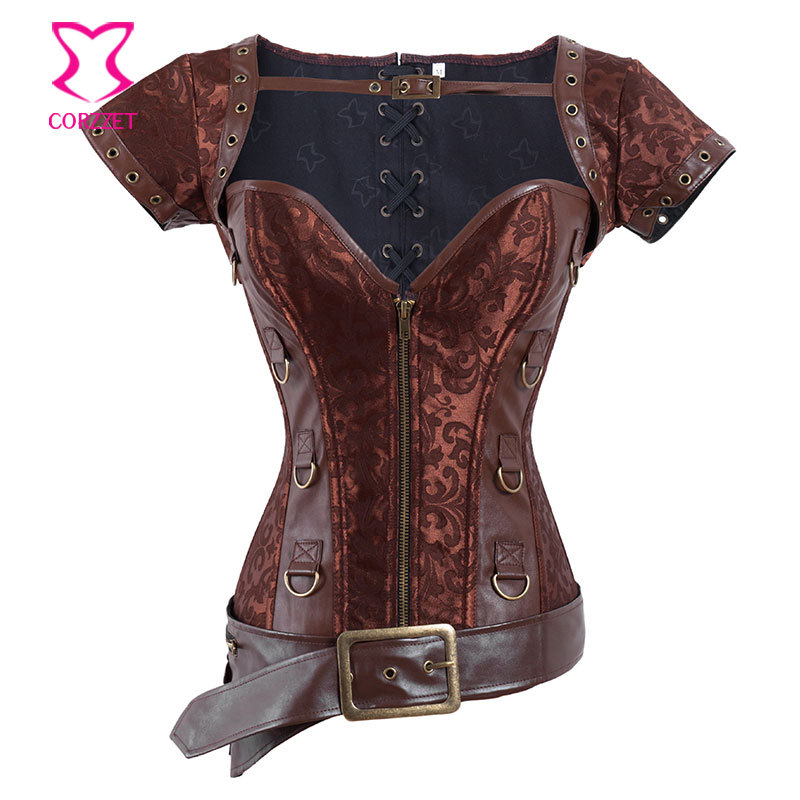Brown Brocade & Leather Steampunk Corsets and Bustiers Steel Boned Corset Burlesque Sexy Gothic Clothing Zipper Waist Trainer