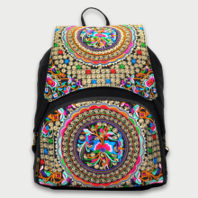 2018 New Floral Embroidery Drawstring Backpack Hot National Ethnic Canvas Travel Rucksack Large Woman Cover Back Bag
