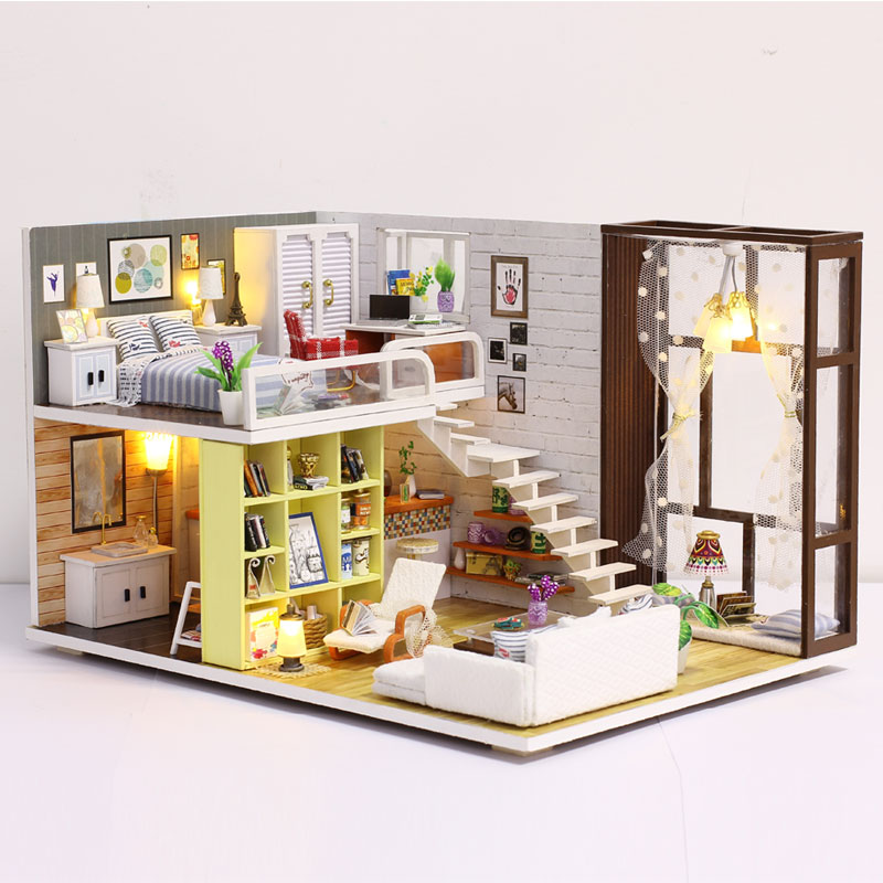 New Doll House Toy Miniature Wooden Doll House Loft with Kitchen Bedroom Bathroom Best Kids Gift Diy Dollhouse Toys For Children shelf