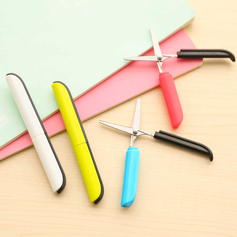Personality color scissors pen type folding portable scissors safety hand scissors with protective cover office supplies