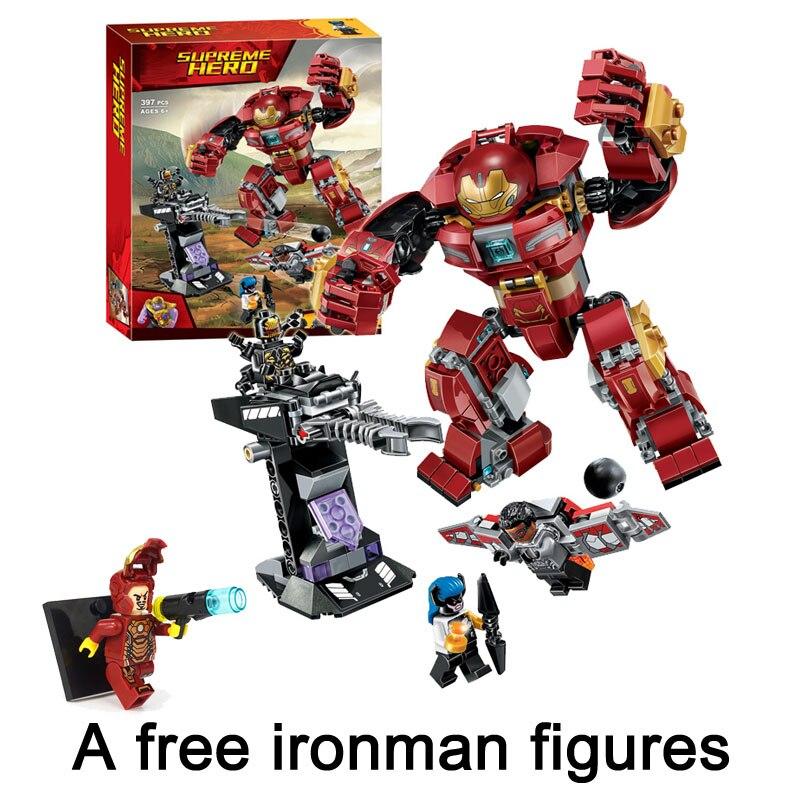 Compatible Legoe Ironman Hulkbuster Marvel Avengers Infinity War 76104 Super Hero Building Blocks Bricks Toys get a free figures все цены