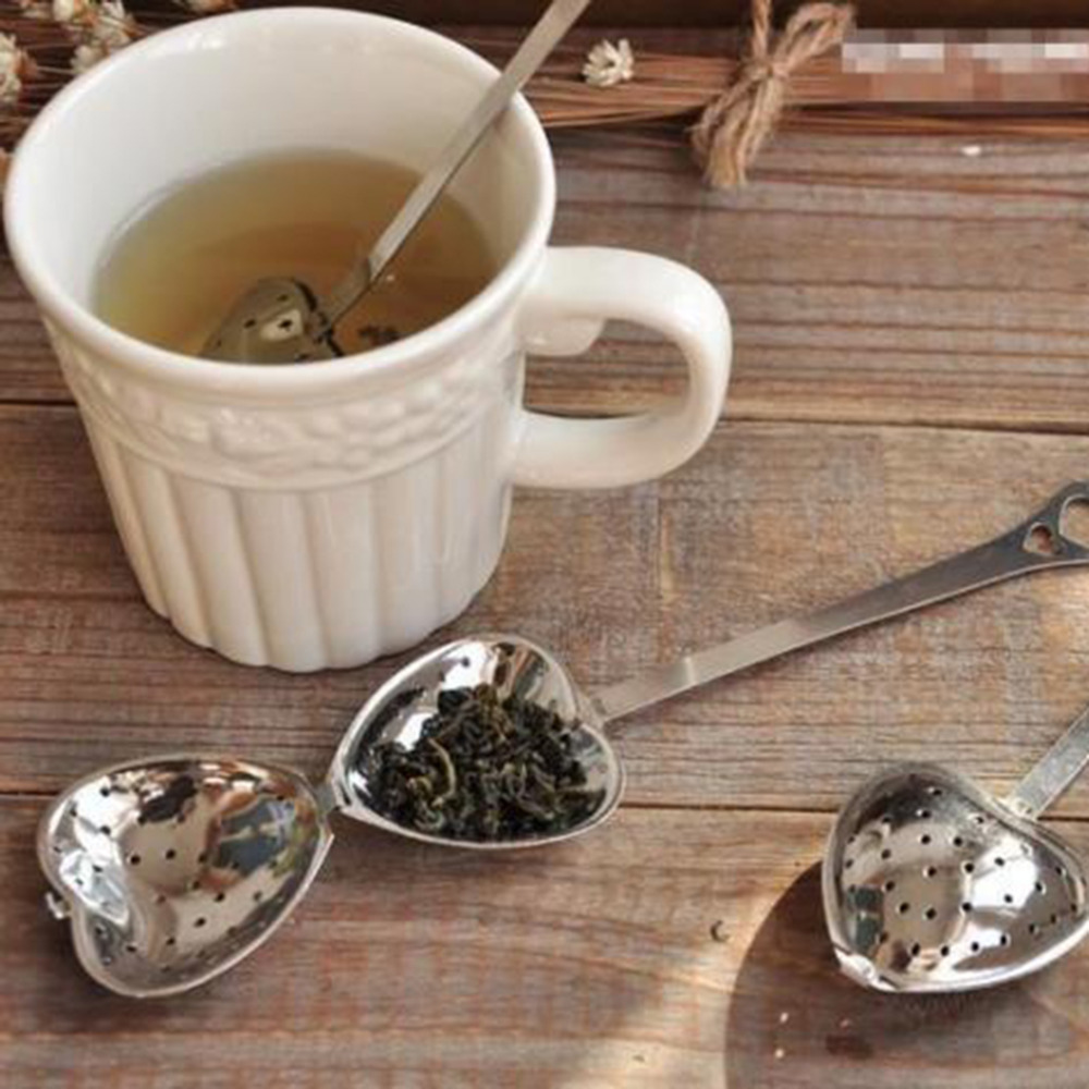 2Pcs Hot Heart Shape Stainless Steel Tea Leaf Herbal Filter Infuser Spoon Strainer
