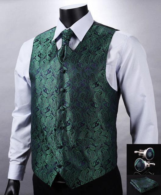 VE10 Green Navy Blue Paisley Top Design Wedding Men 100%Silk Waistcoat Vest  Pocket Square 5698cf06d